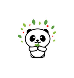 cute panda eats leaves baby vector image