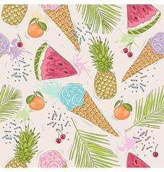 Cute seamless pattern with ice creams pineapples vector image
