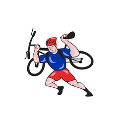 Cyclist Carry Mountain Bike on Shoulders Cartoon vector image