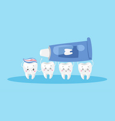 Dental care with cute healthy white teeth and vector