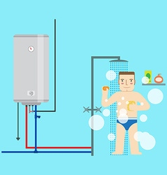 Electric water heater and man in the bathroom vector