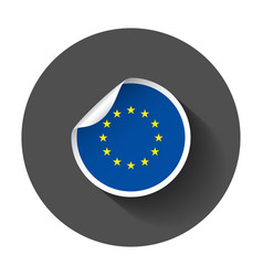 europe sticker with flag with long shadow vector image