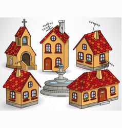 european village houses vector image