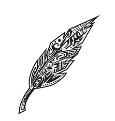 Feather tattoo vector image