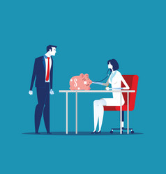 Financial health business person and health check vector