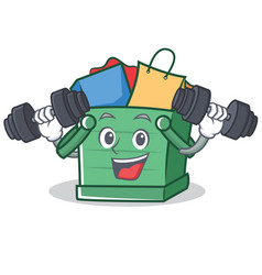 Fitness shopping basket character cartoon vector