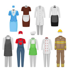 Flat set staff clothing clothes of vector