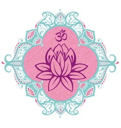 Frame with lotus vector image