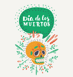 frame with mexican skull vector image