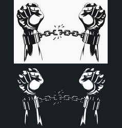 Freedom hand breaking from handcuff chains vector