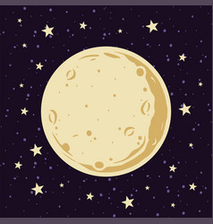 Full moon and stars in the night sky in cartoon vector