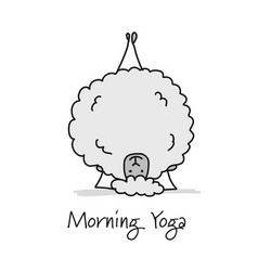 funny sheep doing yoga sketch for your design vector image