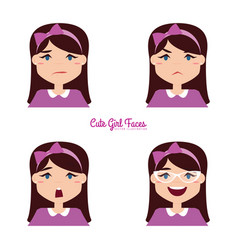Girl expression faces vector