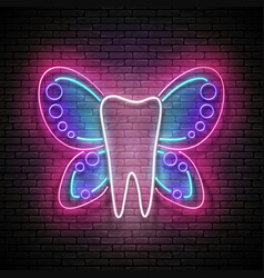 glow tooth with butterfly wings tooth fairy vector image