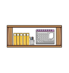 Grated office shelf with folders document and vector