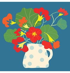 Greeting card with flowers and pot bright vector image