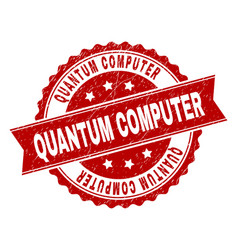 Grunge textured quantum computer stamp seal vector