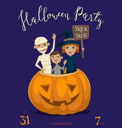 halloween party banner design with kids vector image