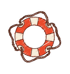 Hand colored drawing of flotation hoop with cord vector