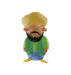 hand drawing colored indian man bearded vector image