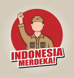 Hand drawn indonesia independence day greeting vector
