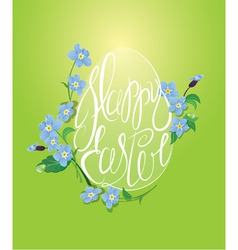 Happy Easter and forget me not spring flowers vector