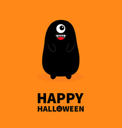 Happy halloween monster black silhouette fang vector