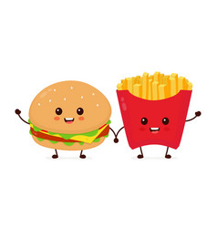 Happy smiling funny cute burger vector