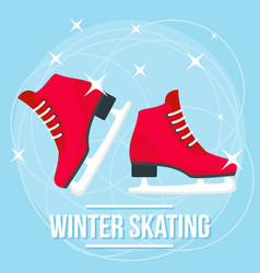 happy winter skating concept background flat vector image