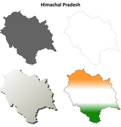 Himachal Pradesh blank outline map set vector image