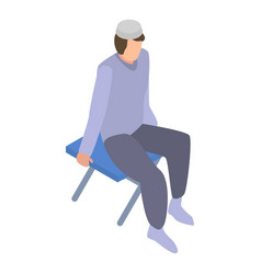 Homeless muslim migrant man icon isometric style vector