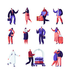 hotel staff and guests set businessman vector image