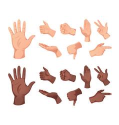 human hand gestures set vector image
