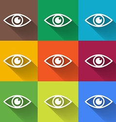 Icon of eye Colorful set Flat style vector image