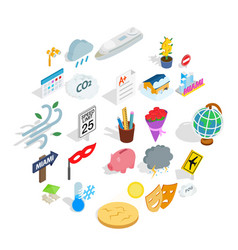 Individual icons set isometric style vector