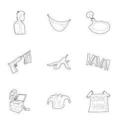 Joke icons set outline style vector