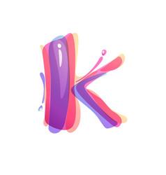 K letter logo formed watercolor splashes vector