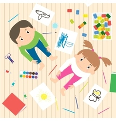 Kids Art-working process Kids creativity vector