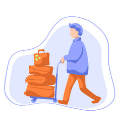 Man with luggage on trolley flat vector