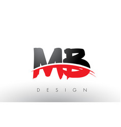 Mb m b brush logo letters with red and black vector