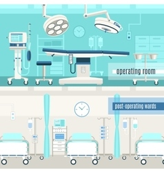 Medical surgery operation 2 banners set vector