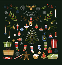 merry christmas traditional symbols and items of vector image