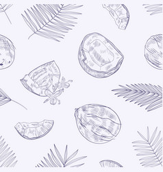 Monochrome seamless pattern with ripe fresh vector