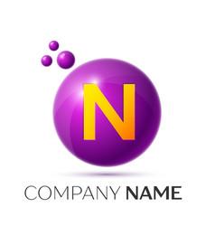 n letter splash purple dots and circle bubble vector image