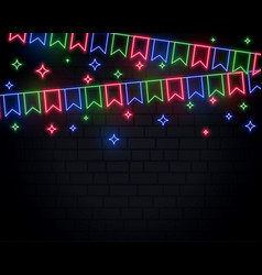 neon garland flags decoration with stars vector image