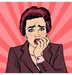 Nervous Business Woman Biting Her Fingers Pop Art vector