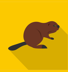 north american beaver icon flat style vector image