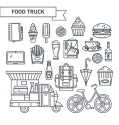 Outlined icons street food vector