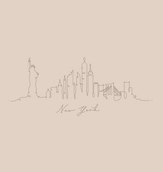 Pen line silhouette new york beige vector