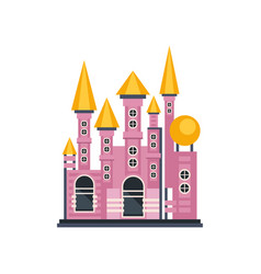 pink fairytale princess castle vector image